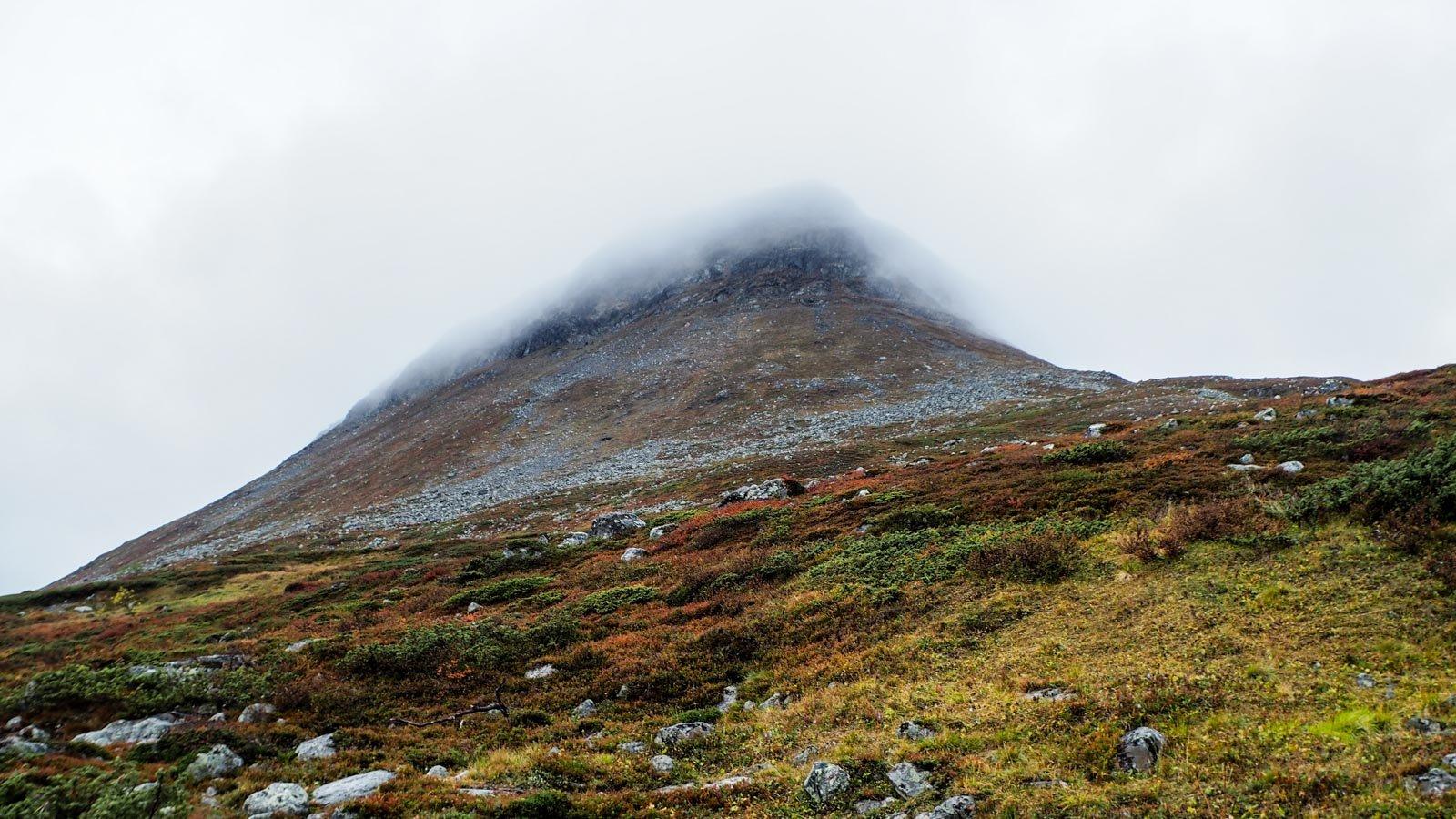 Saanatunturi pilvisenä päivänä: tasainen sadepilvi peittää tunturin laen.