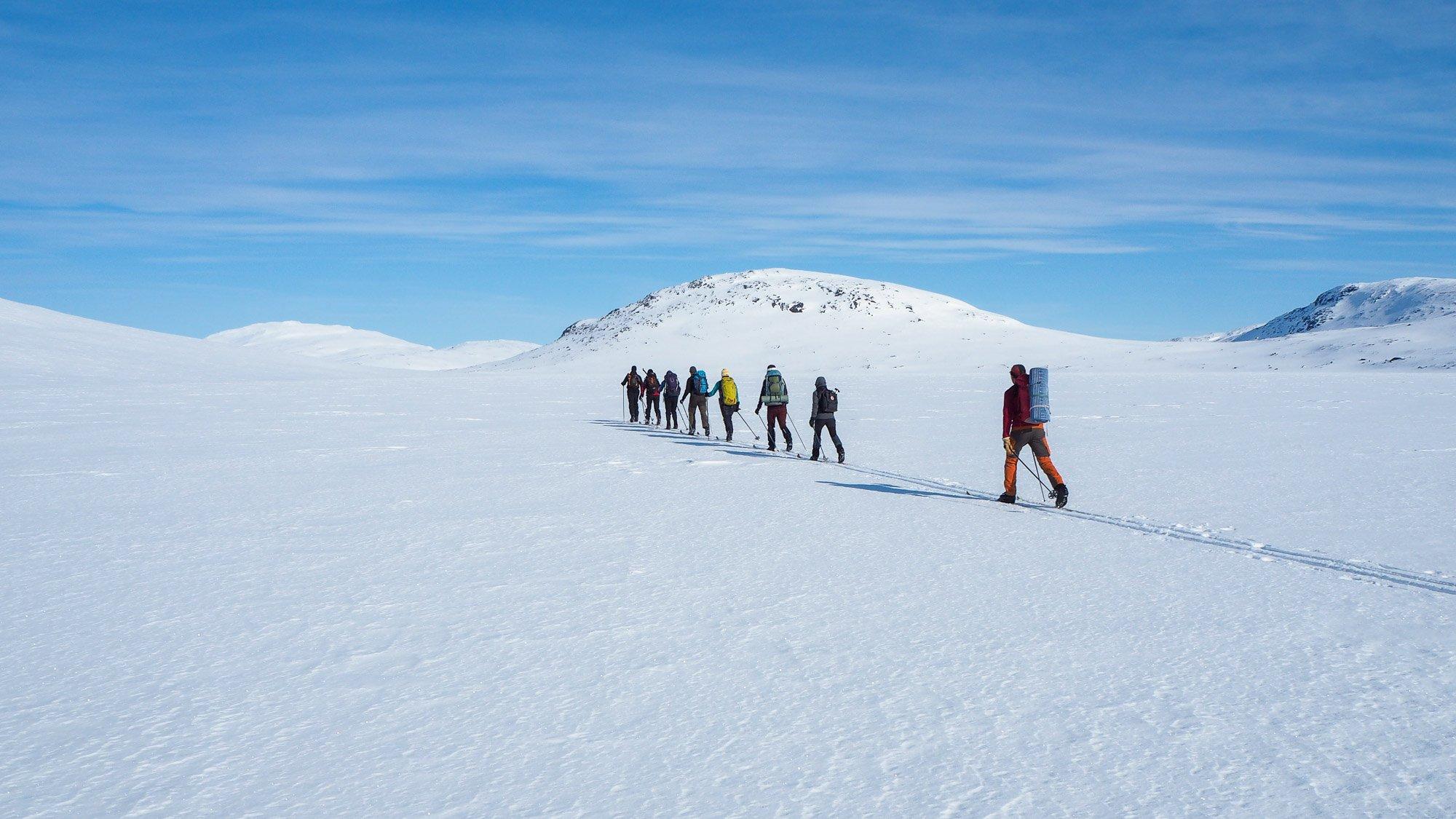 Joukko retkeilijöitä hiihtää jonossa kohti lumisia tuntureita.