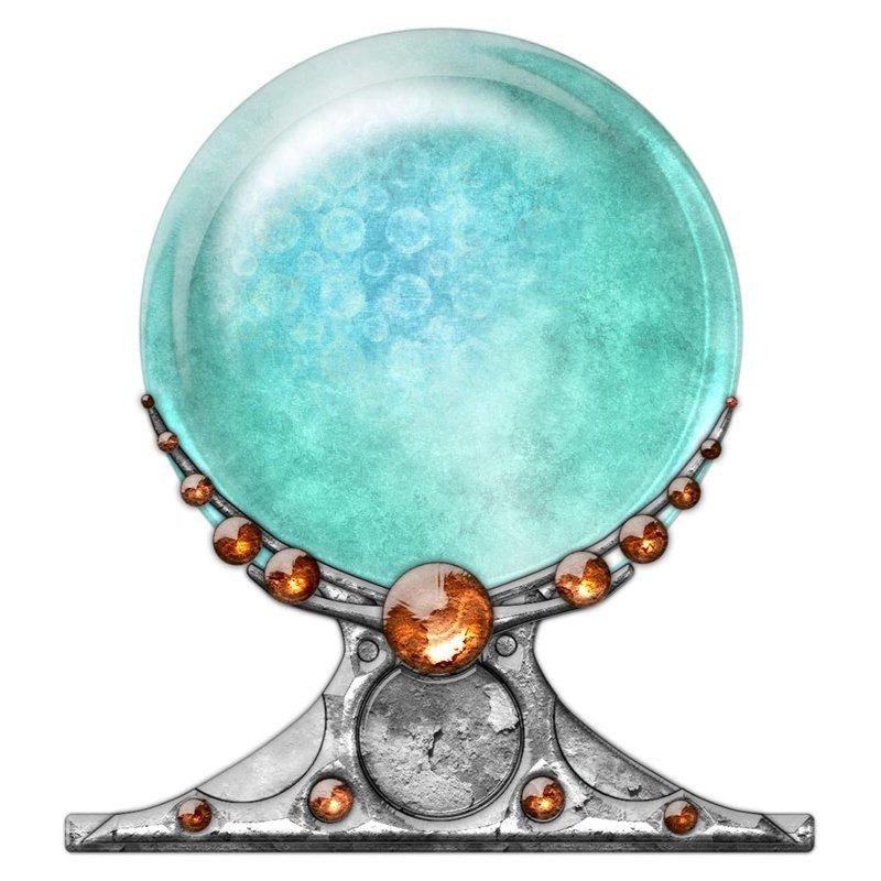 une boule de cristal vert clair