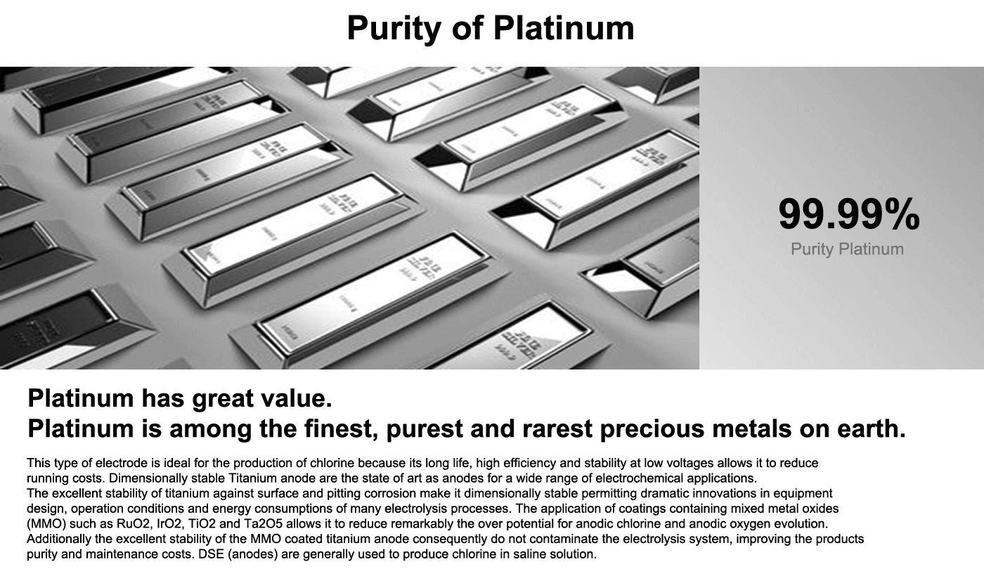 Alkaline Water Ionizer with 99.9% pure platinum