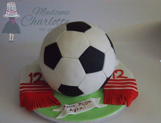παιδική τουρτα γενεθλίων με ζαχαροπαστα μπαλα ολυμπιακος, ζαχαροπλαστείο καλαμάτα madamecharlotte.gr, party birthday cakes 2d 3d confectionery patisserie kalamata