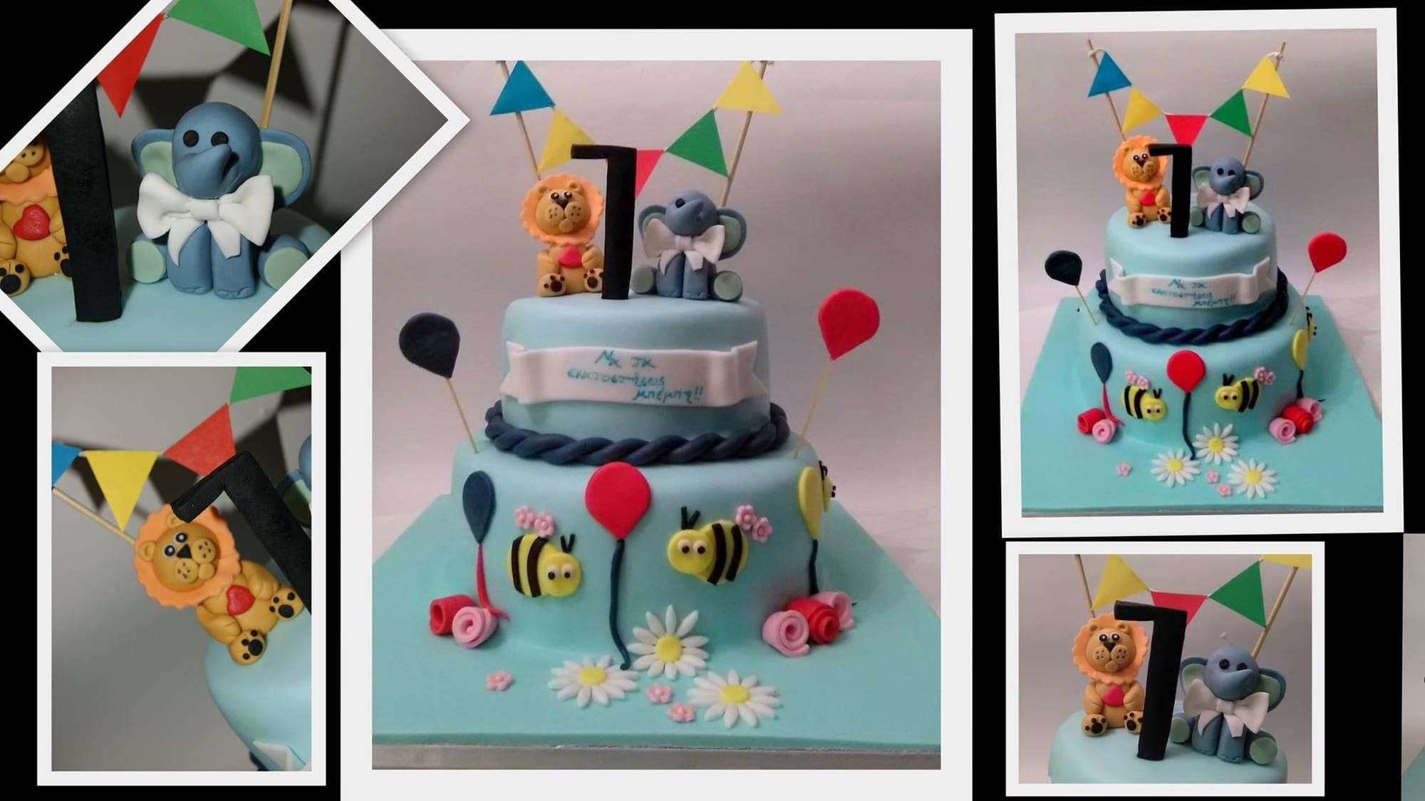 τούρτα 2όροφη γελεθλιων απο ζαχαρόπαστα ελεφαντας baby lion & baby elephant ζαχαροπλαστείο καλαμάτα madame charlotte, birthday cakes kalamata