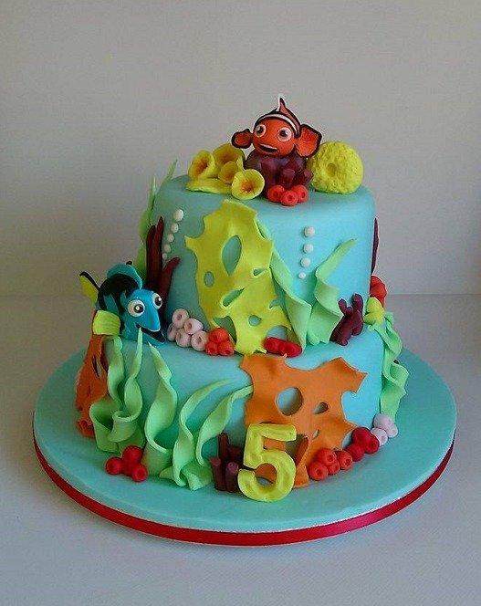 γενεθλίων 2-όροφη τούρτα απο ζαχαρόπαστα νέμο ντόρη nemo & dory, madame charlotte καλαματα, birthday cakes kalamata