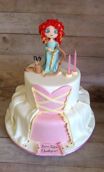 τούρτα γενεθλίων με ζαχαρόπαστα merida, ζαχαροπλαστείο καλαμάτα madamecharlotte.gr, birthday theme party cakes 2d 3d confectionery patisserie kalamata