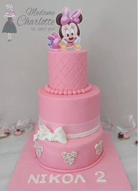 παιδική δυόροφη τούρτα γενεθλίων απο ζαχαρόπαστα  baby minnie ζαχαροπλαστείο καλαμάτα madamecharlotte.gr, birthday cakes kalamata