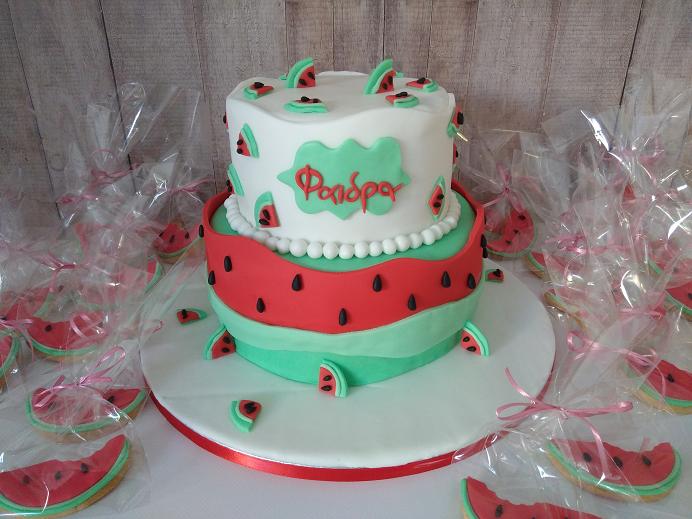τούρτα γενεθλίων από ζαχαρόπαστα καρπούζι Ζαχαροπλαστείο καλαμάτα madamecharlotte.gr, birthday cakes kalamata