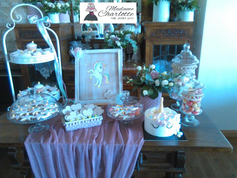 μπουφέ βάπτισης μονόκερος Ζαχαροπλαστειο καλαματα madame charlotte, birthday baptism unicorn theme cakes kalamata