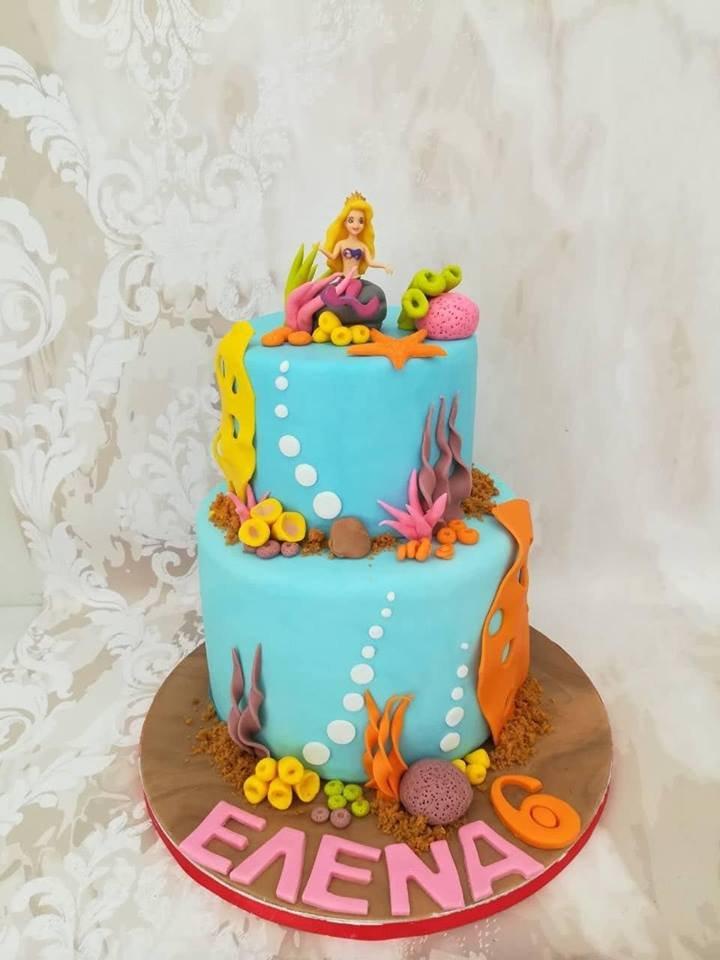 τούρτα γενεθλίων απο ζαχαρόπαστα γοργονα ariel, Ζαχαροπλαστειο καλαματα madame charlotte, birthday cakes kalamata