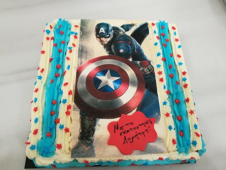 τούρτα από ζαχαρόπαστα captain america, Ζαχαροπλαστείο καλαμάτα madame charlotte, τούρτες γεννεθλίων γάμου βάπτησης παιδικές θεματικές birthday theme party cake 2d 3d confectionery patisserie kalamata