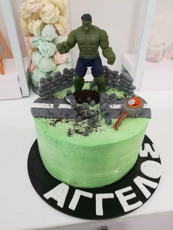 τούρτα χωρίς ζαχαρόπαστα hulk, ζαχαροπλαστείο καλαμάτα madame charlotte, birthday wedding party cakes 2d 3d kalamata