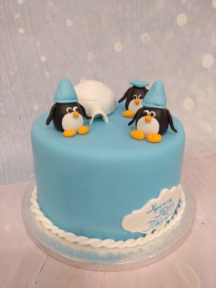 τούρτα από ζαχαρόπαστα πινγκουινάκια, Ζαχαροπλαστείο καλαμάτα madame charlotte, τούρτες γεννεθλίων γάμου βάπτησης παιδικές θεματικές birthday theme party cake 2d 3d confectionery patisserie kalamata