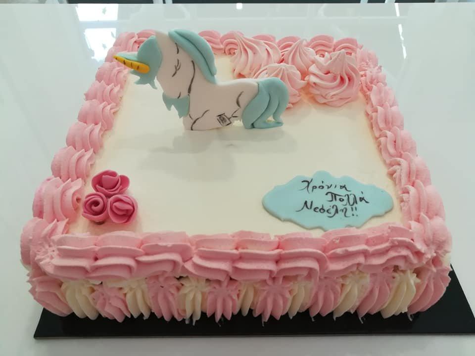 τούρτα από ζαχαρόπαστα μικρός μονόκερος, Ζαχαροπλαστείο καλαμάτα madame charlotte, τουρτες παρτι παιδικες γενεθλιων madamecharlotte.gr birthday cakes kalamata