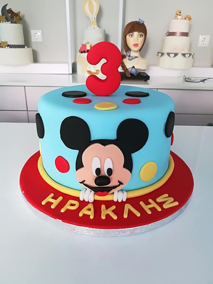 τούρτα από ζαχαρόπαστα mickey classic cartoon μίκυ 3 yo, Ζαχαροπλαστείο καλαμάτα madame charlotte, τουρτες παρτι παιδικες γενεθλιων παιδικές madamecharlotte.gr birthday cakes patisserie confectionery kalamata