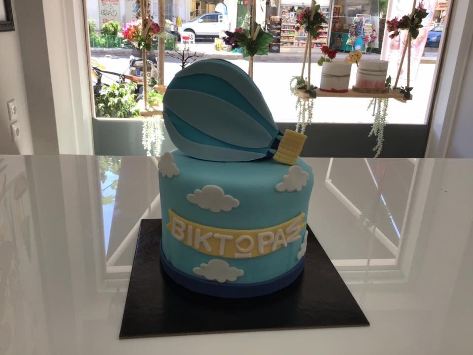 τούρτα από ζαχαρόπαστα αερόστατο, Ζαχαροπλαστείο καλαμάτα madame charlotte, τούρτες γεννεθλίων γάμου βάπτησης παιδικές θεματικές birthday theme party cake 2d 3d confectionery patisserie kalamata