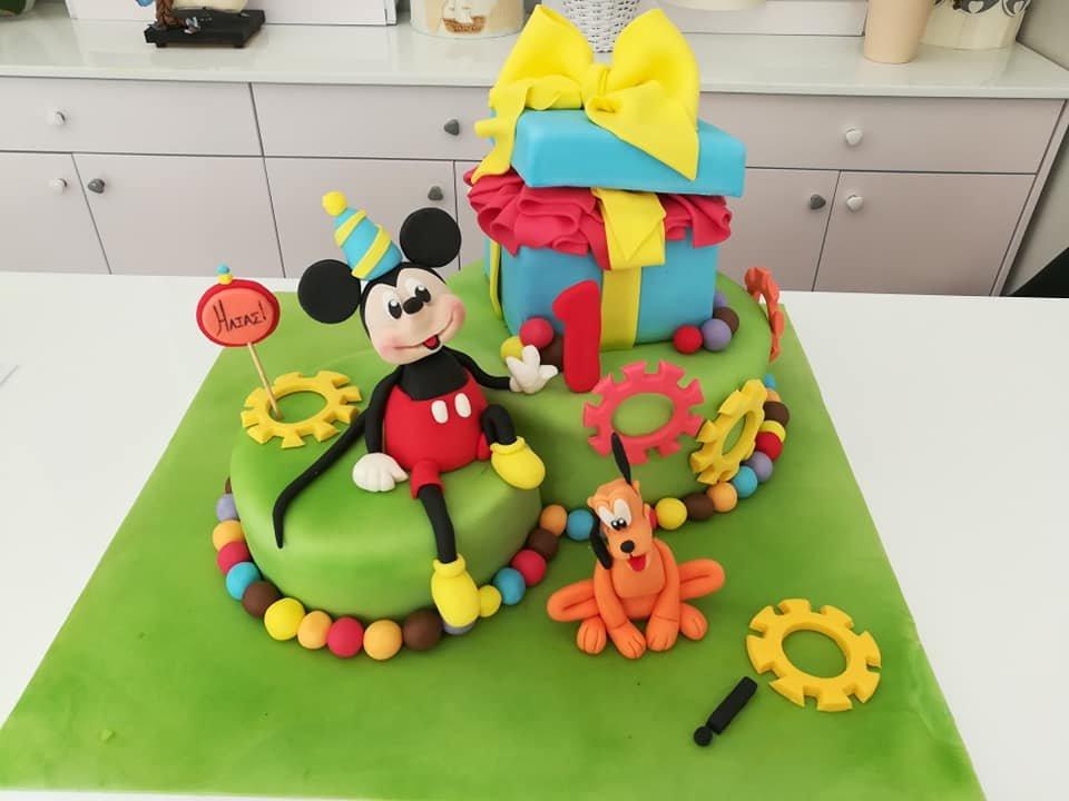 τούρτα από ζαχαρόπαστα μίκυ και πλούτο mickey pluto disney cake, ζαχαροπλαστείο καλαμάτα madamecharlotte.gr, birthday theme party cakes 2d 3d confectionery patisserie kalamata