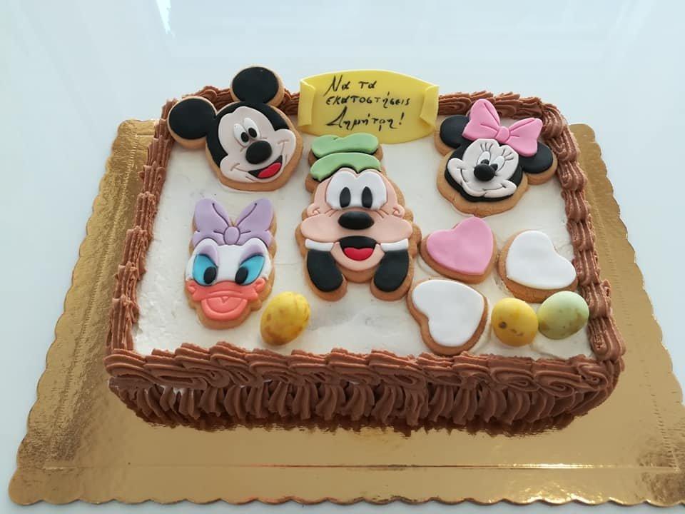 τούρτα από ζαχαρόπαστα μίκυ μίνι γκούφη νταίζη minnie mickey goofy daisy disney, Ζαχαροπλαστείο καλαμάτα madame charlotte, τουρτες παρτι παιδικες γενεθλιων για αγόρια για κορίτσια για μεγάλους madamecharlotte.gr birthday cakes patisserie confectionery kalamata