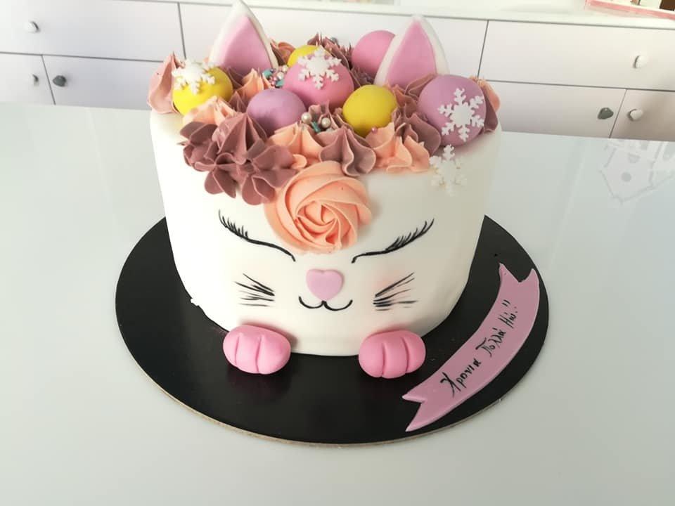 τούρτα από ζαχαρόπαστα γατούλα kitten, Ζαχαροπλαστεία στη καλαμάτα madame charlotte, τούρτες γεννεθλίων γάμου βάπτησης παιδικές θεματικές birthday theme party cake 2d 3d confectionery patisserie kalamata