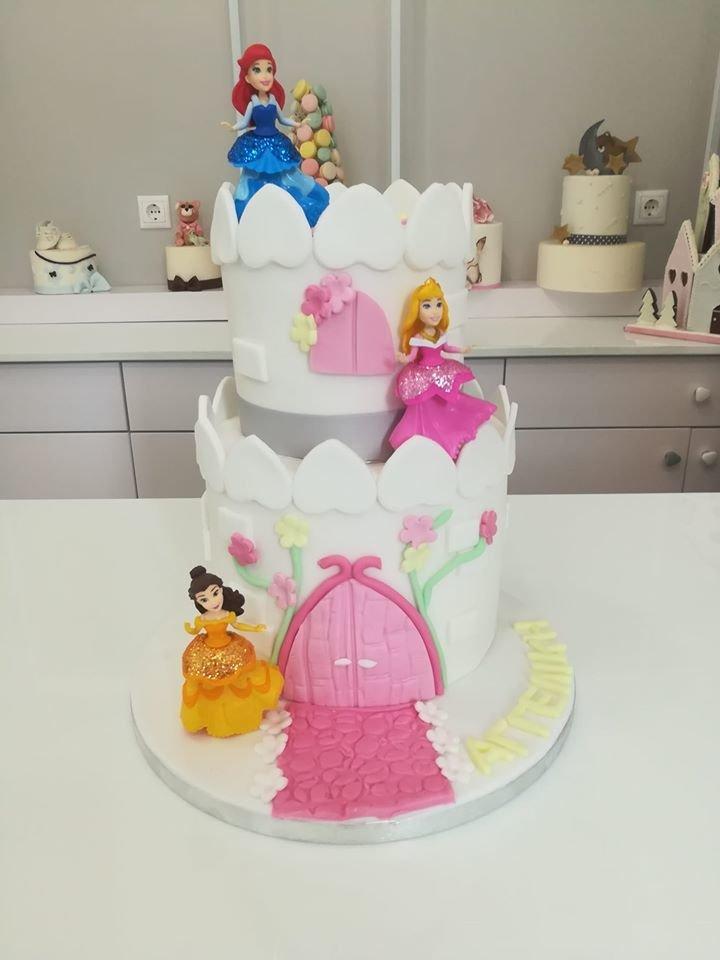 τούρτα από ζαχαρόπαστα κάστρο με πριγκίπισσες theme cake castle with princess, Ζαχαροπλαστεία στη καλαμάτα madame charlotte, τούρτες γεννεθλίων γάμου βάπτησης παιδικές θεματικές birthday theme party cake 2d 3d confectionery patisserie kalamata