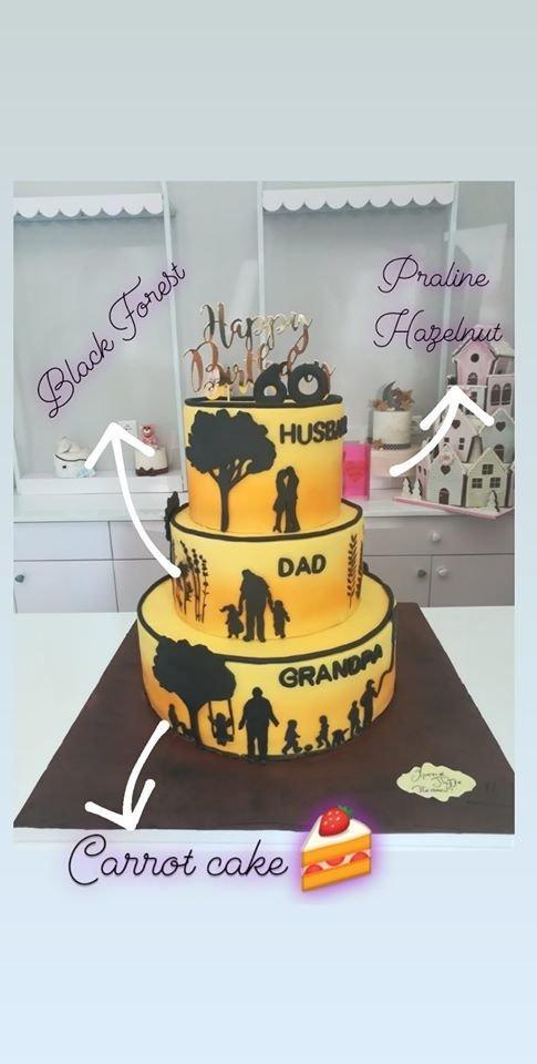 3όροφη τούρτα από ζαχαρόπαστα με διαφορετική γεύση σε κάθε επίπεδο happy 60 husband dad grandpa black forest praline huselnut carrot cake, Ζαχαροπλαστείο καλαμάτα madame charlotte, τουρτες παρτι παιδικες γενεθλίων για αγόρια για κορίτσια για μεγάλους madamecharlotte.gr birthday themed cakes patisserie confectionery kalamata
