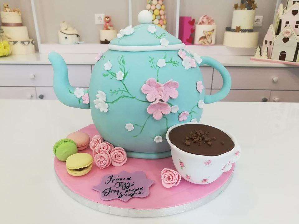τούρτα από ζαχαροπαστα themed cake Tea timer, Ζαχαροπλαστεία στη Καλαμάτα madame charlotte, τούρτες γεννεθλίων γάμου βάπτησης παιδικές θεματικές birthday theme party cake 2d 3d confectionery patisserie kalamata