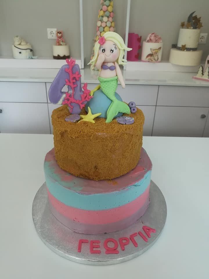 τούρτα χωρίς ζαχαρόπαστα γοργόνα, theme cake mermaid, ζαχαροπλαστείο καλαμάτα madame charlotte, birthday wedding party cakes 2d 3d kalamata