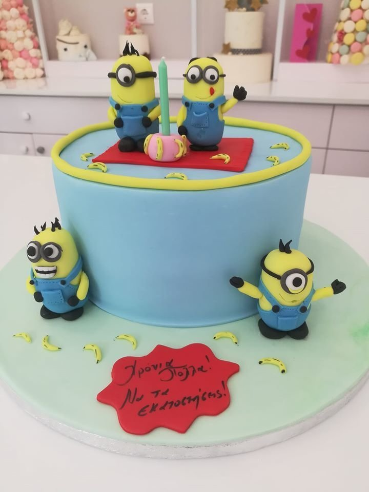 τούρτα από ζαχαρόπαστα Minions themed cake, Ζαχαροπλαστεία στη Καλαμάτα madame charlotte, τούρτες γεννεθλίων γάμου βάπτησης παιδικές θεματικές birthday theme party cake 2d 3d confectionery patisserie kalamata