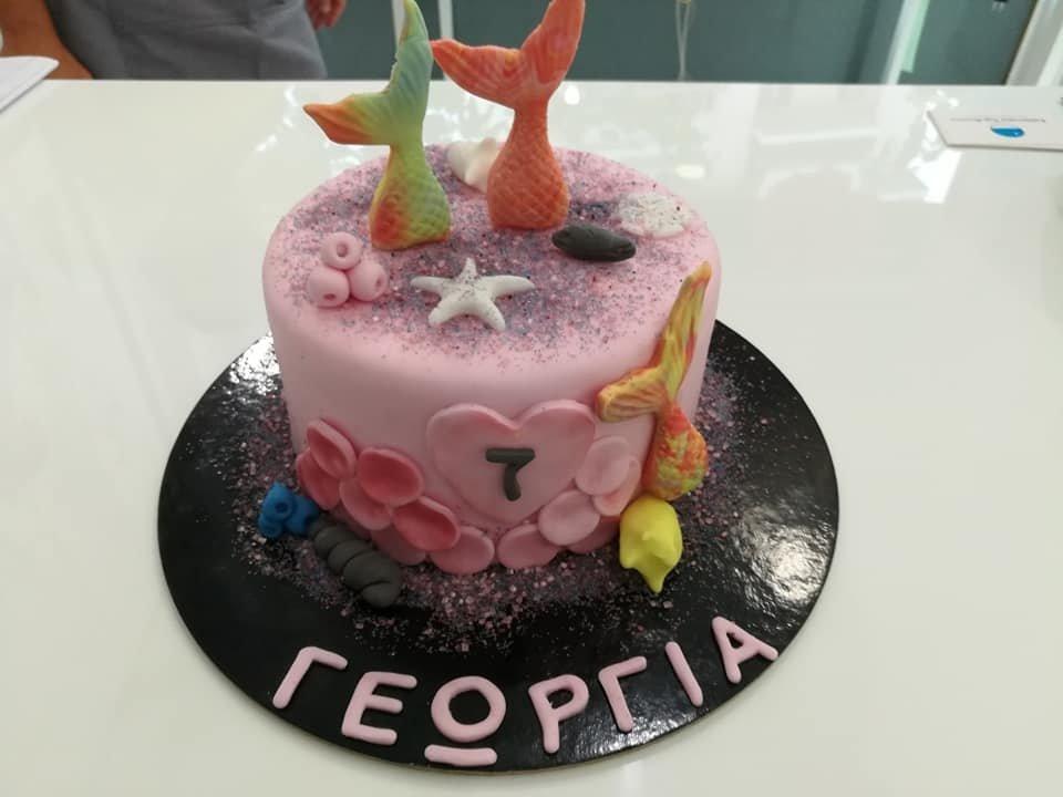 τούρτα από ζαχαρόπαστα γοργόνα 7 ετών χρονών, mermaid themed cake 7 y.o., Ζαχαροπλαστεία στη Καλαμάτα madame charlotte, τούρτες γεννεθλίων γάμου βάπτησης παιδικές θεματικές birthday theme party cake 2d 3d confectionery patisserie kalamata