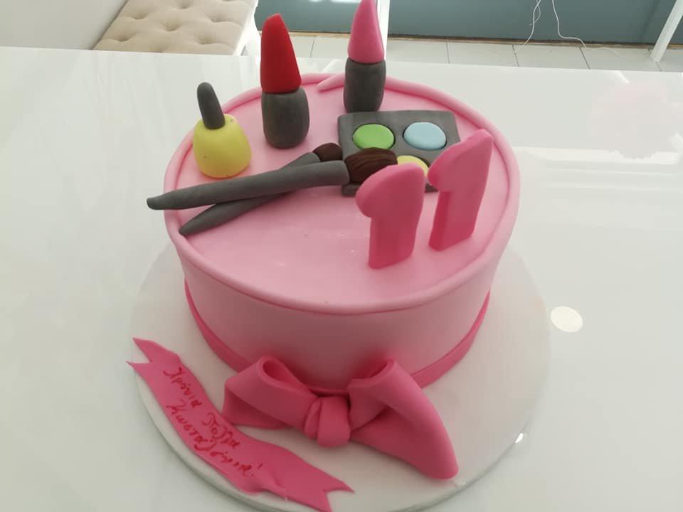 τούρτα από ζαχαρόπαστα μακιγιάζ, makeup themed cake, Ζαχαροπλαστεία Καλαμάτα madame charlotte, τούρτες για πάρτι παιδικές γενεθλίων για αγόρια για κορίτσια για μεγάλους, birthday themed cakes patisserie confectionery kalamata