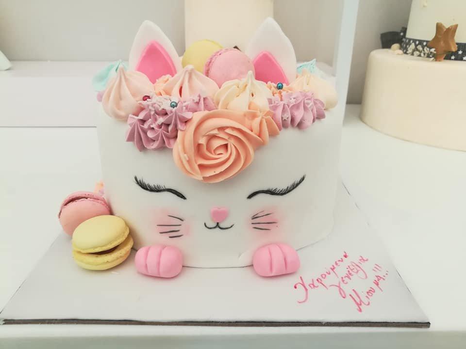 τούρτα από ζαχαρόπαστα γατούλα, kitty cat themed cake, Ζαχαροπλαστεία Καλαμάτα madame charlotte, τούρτες για πάρτι παιδικές γενεθλίων για αγόρια για κορίτσια για μεγάλους, birthday themed cakes patisserie confectionery kalamata