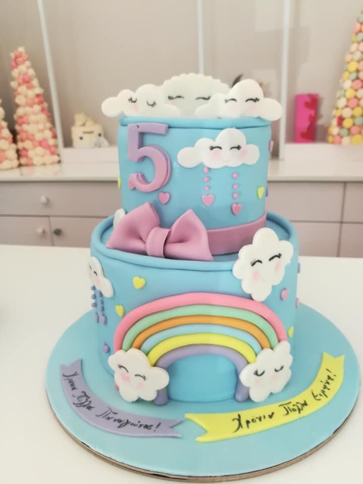 τούρτα από ζαχαρόπαστα ουράνιο τόξο 2όροφη, rainbow themed cake, Ζαχαροπλαστεία Καλαμάτα madame charlotte, τούρτες για πάρτι παιδικές γενεθλίων για αγόρια για κορίτσια για μεγάλους, birthday themed cakes patisserie confectionery kalamata
