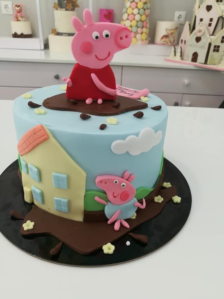 τούρτα από ζαχαρόπαστα πέπα και τζόρτζ, peppa pig ang george themed cake, Ζαχαροπλαστεία Καλαμάτα madame charlotte, τούρτες για πάρτι παιδικές γενεθλίων για αγόρια για κορίτσια για μεγάλους, birthday themed cakes patisserie confectionery kalamata