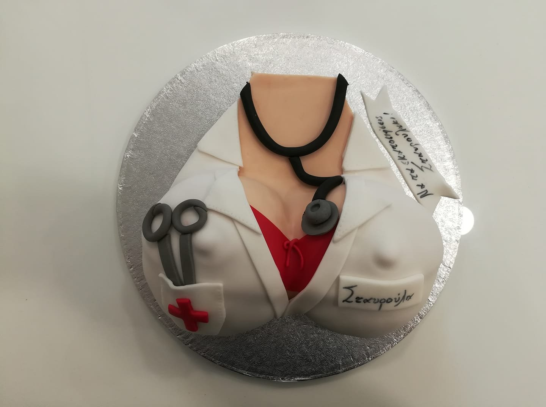 τούρτα από ζαχαρόπαστα σεξυ νοσοκόμα, sexy nurse's uniformthemed cake, Ζαχαροπλαστεία στη Καλαμάτα madame charlotte, τούρτες γεννεθλίων γάμου βάπτησης παιδικές θεματικές birthday theme party cake 2d 3d confectionery patisserie kalamata