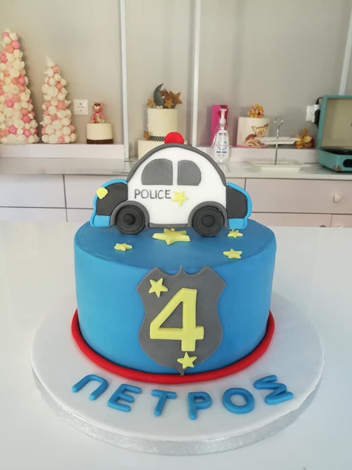 τούρτα από ζαχαρόπαστα αστυνομία, police car themed cake, Ζαχαροπλαστεία στη Καλαμάτα madame charlotte, τούρτες γεννεθλίων γάμου βάπτησης παιδικές θεματικές birthday theme party cake 2d 3d confectionery patisserie kalamata