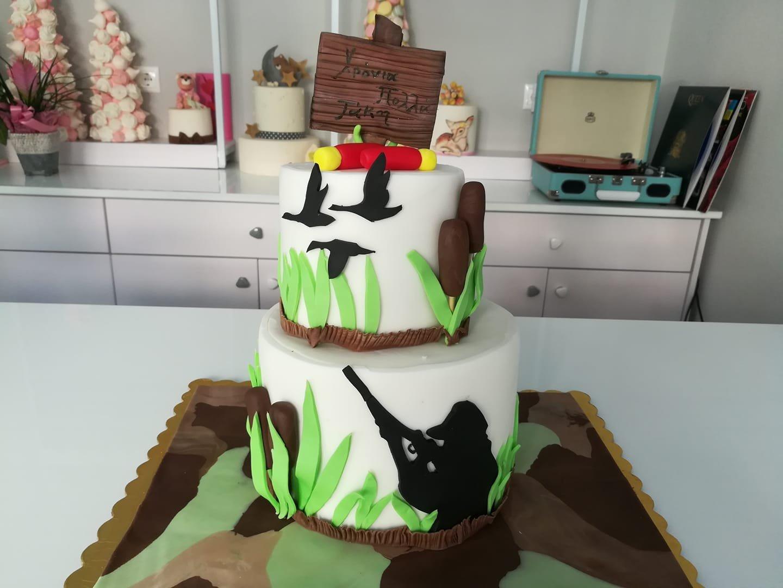 τούρτα από ζαχαρόπαστα κυνηγος 2οροφη, hunter hunting themed cake, Ζαχαροπλαστεία στη Καλαμάτα madame charlotte, τούρτες γεννεθλίων γάμου βάπτησης παιδικές θεματικές birthday theme party cake 2d 3d confectionery patisserie kalamata