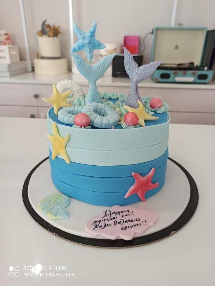 τούρτα από ζαχαρόπαστα γοργόνες, mermaid themed cake, Ζαχαροπλαστεία στη Καλαμάτα madame charlotte, τούρτες γεννεθλίων γάμου βάπτησης παιδικές θεματικές birthday theme party cake 2d 3d confectionery patisserie kalamata
