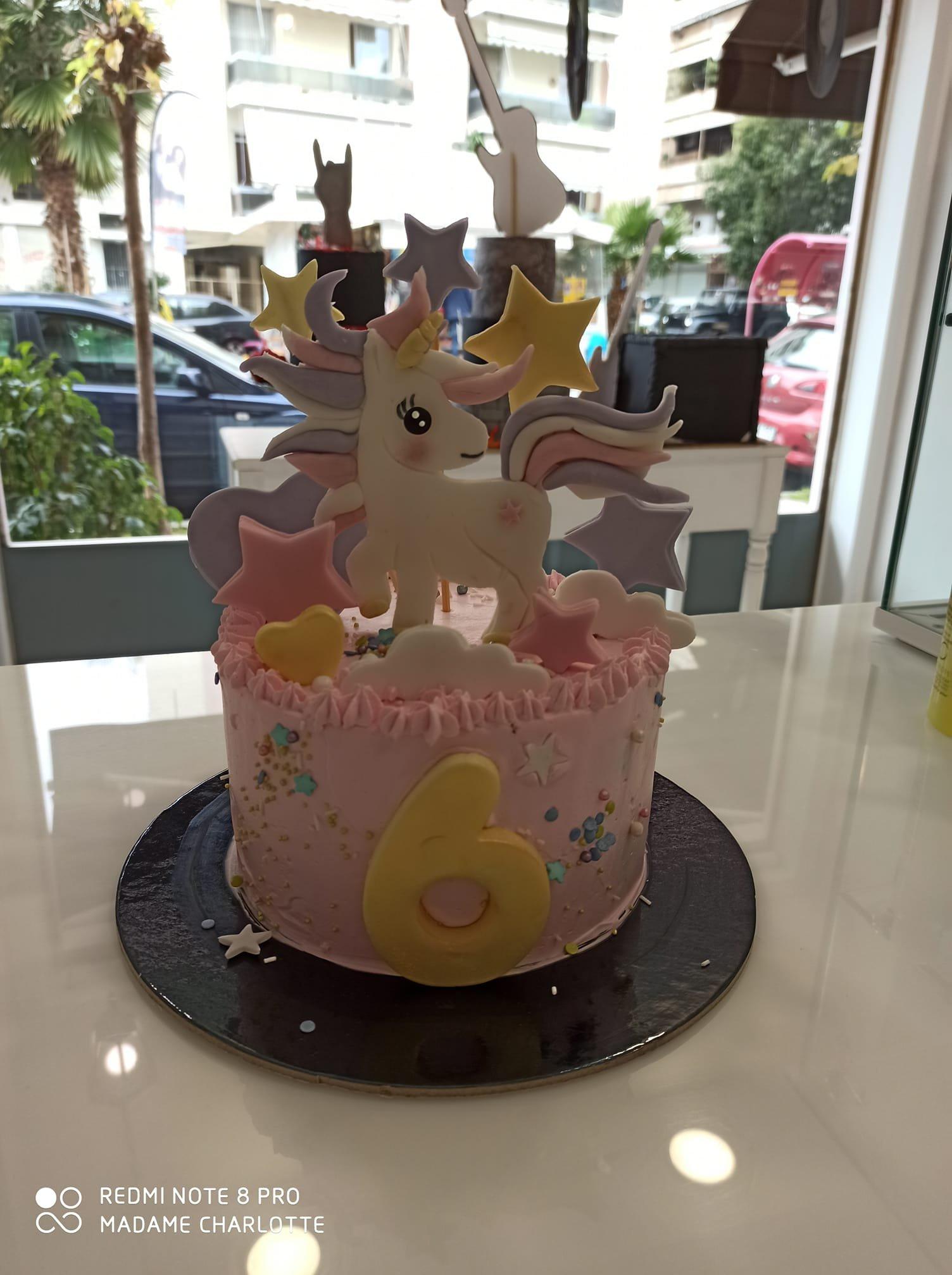 τούρτα χωρίς ζαχαρόπαστα Unicorn themed cake, ζαχαροπλαστείο Καλαμάτα madame charlotte, birthday wedding party cakes 2d 3d kalamata
