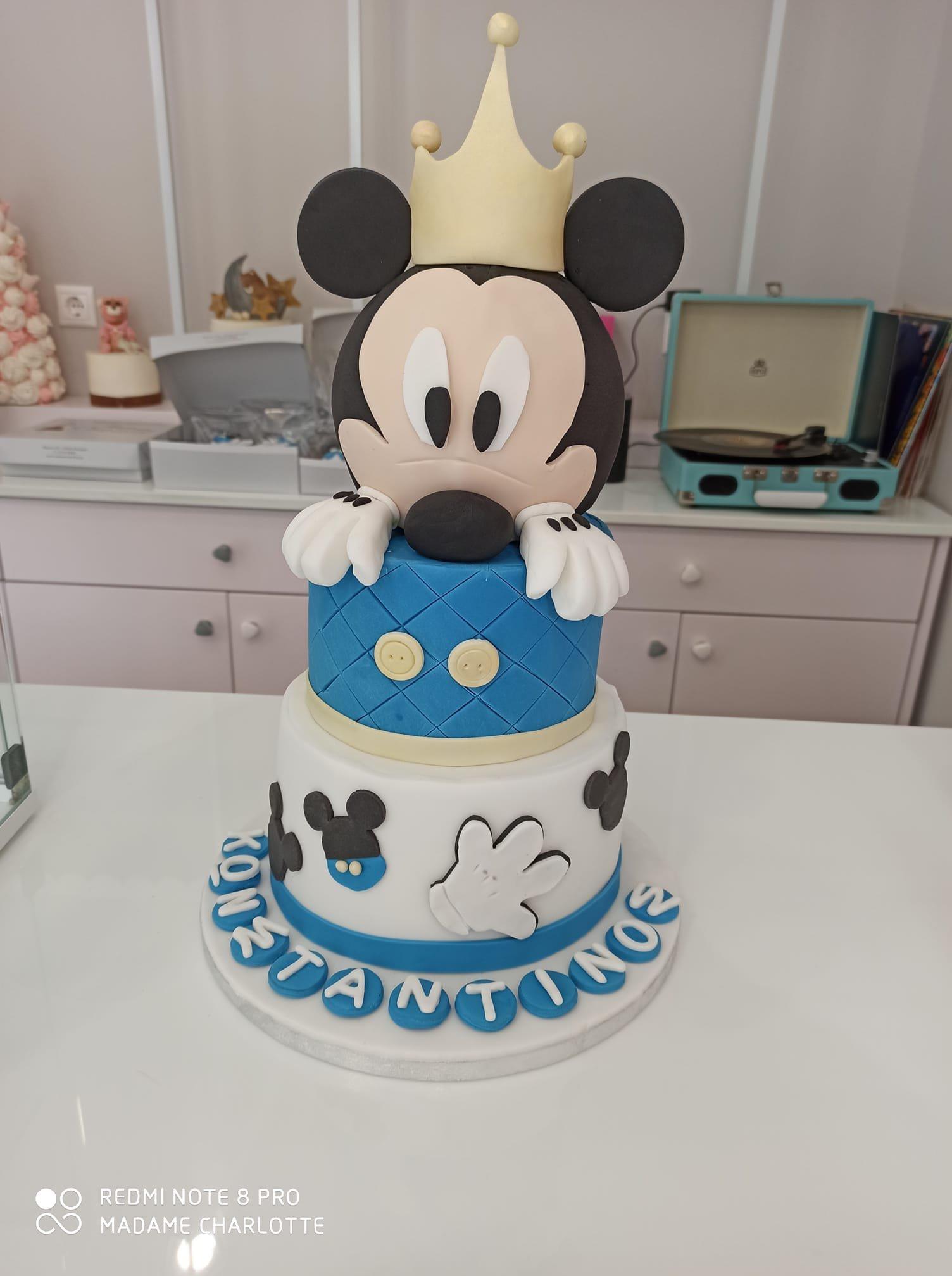 τούρτα από ζαχαρόπαστα μικυ disney mickey themed cake, Ζαχαροπλαστεία Καλαμάτα madame charlotte, τούρτες για πάρτι παιδικές γενεθλίων για αγόρια για κορίτσια για μεγάλους, birthday themed cakes patisserie confectionery kalamata