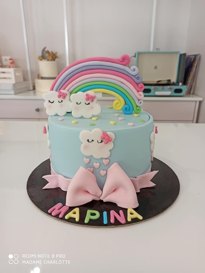 τούρτα από ζαχαρόπαστα ουρανιο τοξο, rainbow themed cake, Ζαχαροπλαστεία Καλαμάτα madame charlotte, τούρτες για πάρτι παιδικές γενεθλίων για αγόρια για κορίτσια για μεγάλους, birthday themed cakes patisserie confectionery kalamata