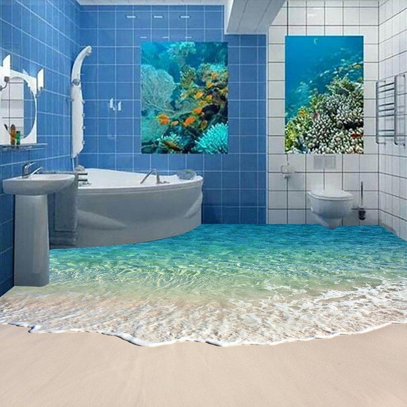 Custom Self-adhesive Floor Mural Photo Wallpaper 3D Seawater Wave Flooring Sticker Bathroom Wear Non-slip Waterproof Wall Papers