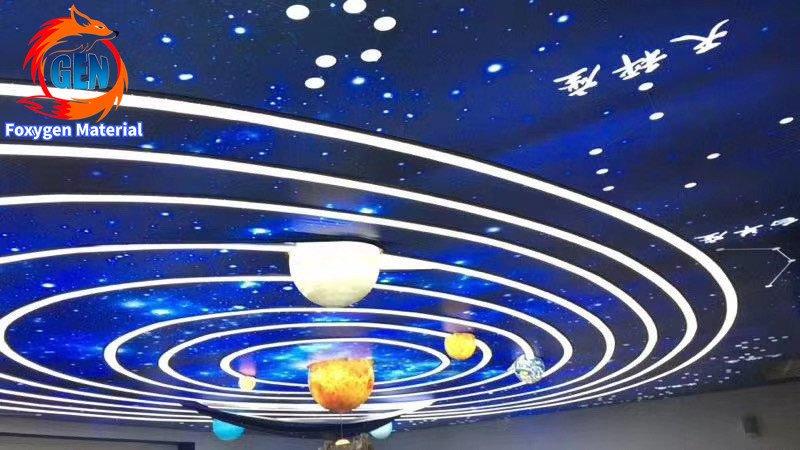 Foxygen customized print uv Stretch ceiling film the solar system