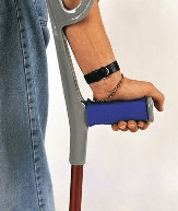 Image of a crutch showing cushioned hand grip