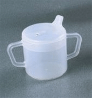 Plastic cups with lids and handles