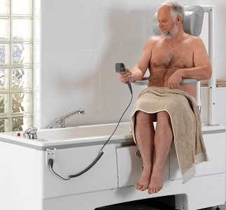 Image of a bath with integral swivel seat