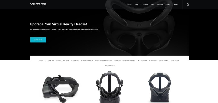 This screenshot of the home page for VR Cover has a black background with a faint image of a virtual reality headset and a blue call to action button, along with white text inviting people to upgrade their virtual reality headsets.