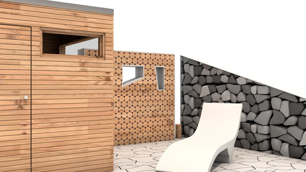 Beispiel 3D Muster Holzwan, Steinwand und Holzhütte