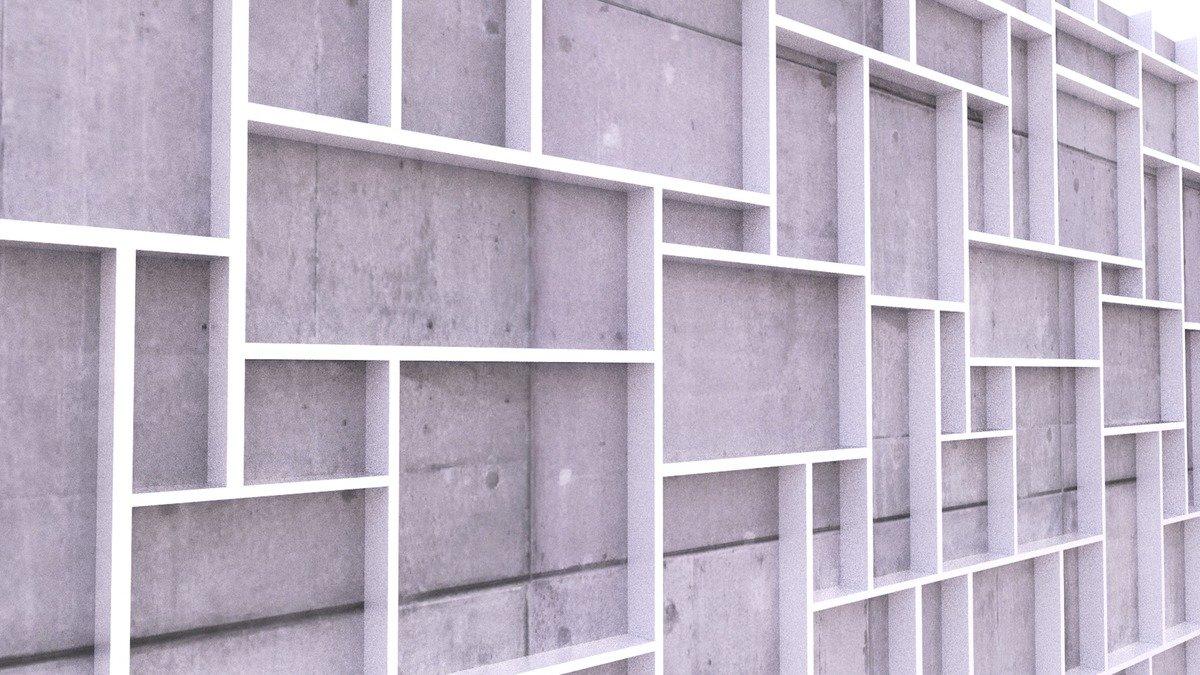 Beispiel 3D Muster Steinwand mit Regalen