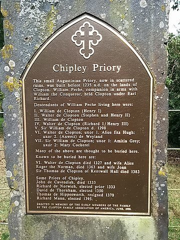 Plaque at the site of Chipley Priory