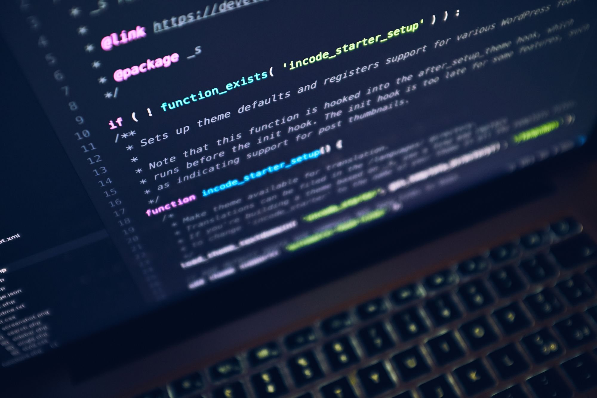 Programming Code Displayed On A Laptop Screen While Reviewing A Websites SEO