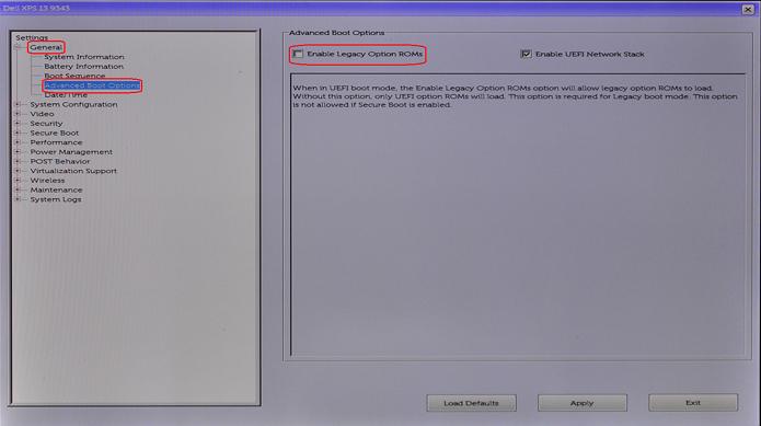 BIOS General Tab, Advanced Boot Selection