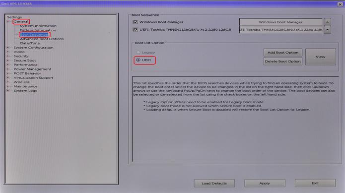BIOS General Tab, Boot Selection